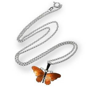Hõbedast kaelakee, emailitud liblikaga ripatsiga